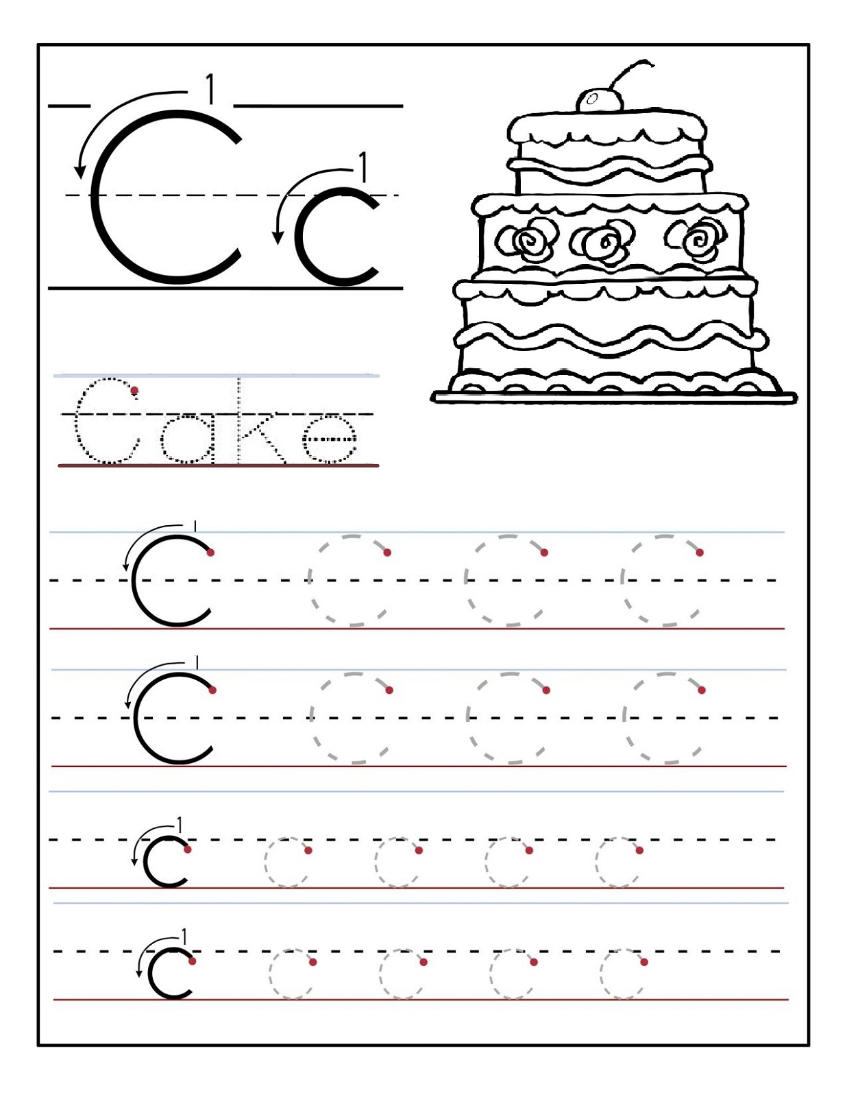 Trace Letter C Worksheets   Activity Shelter inside Letter C Tracing Sheet