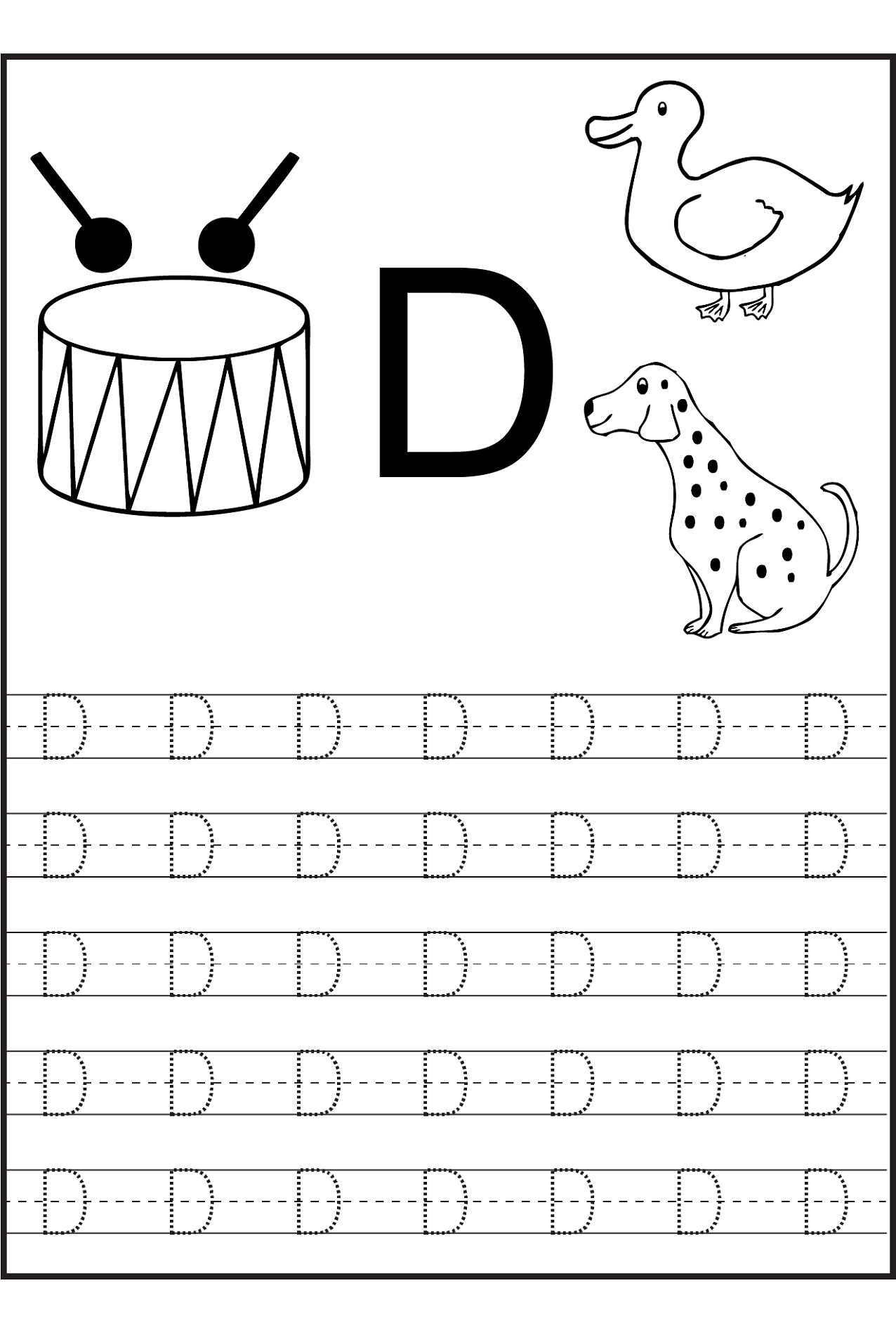Trace Letter D Worksheets | Activity Shelter within D Letter Tracing