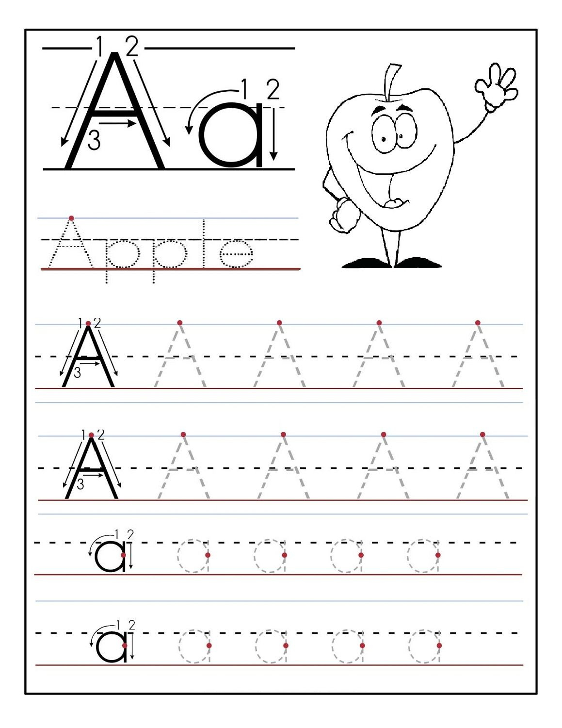 Trace Letter Sheets To Print Alphabet Worksheets Free within Letter A Worksheets For 3 Year Olds
