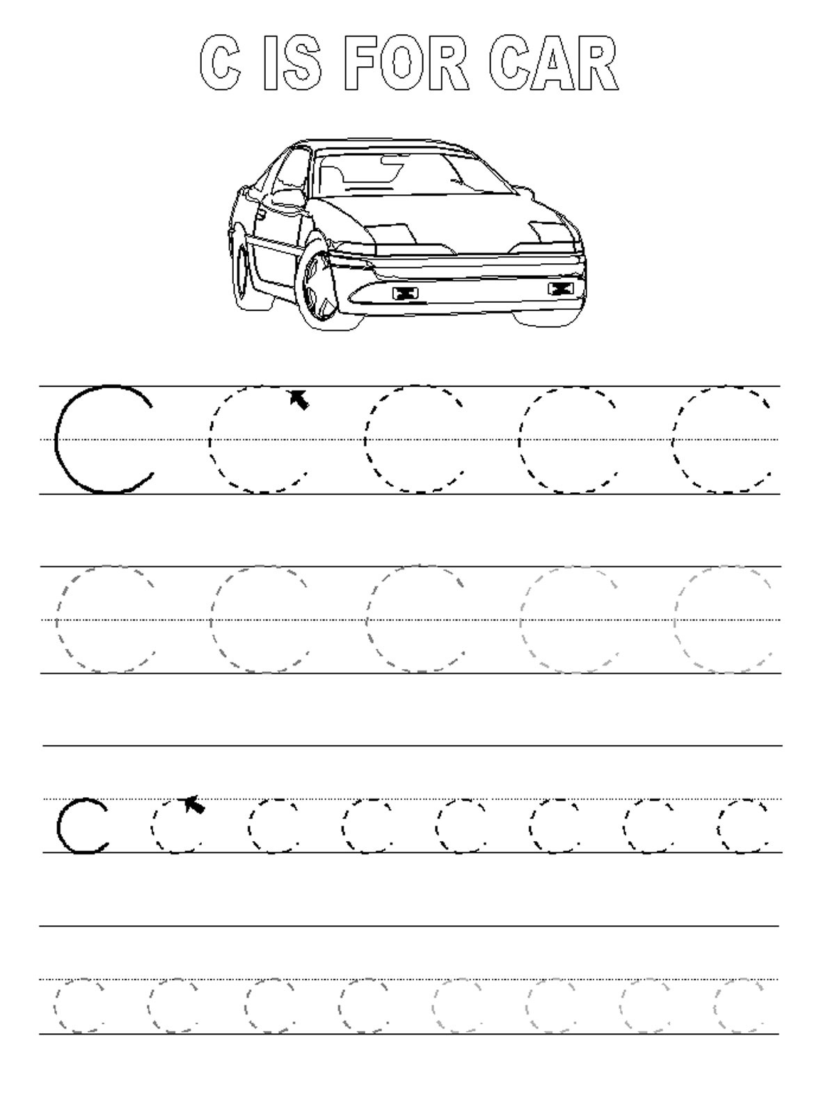 Trace Letter Worksheets Activity Shelter Tracing Car