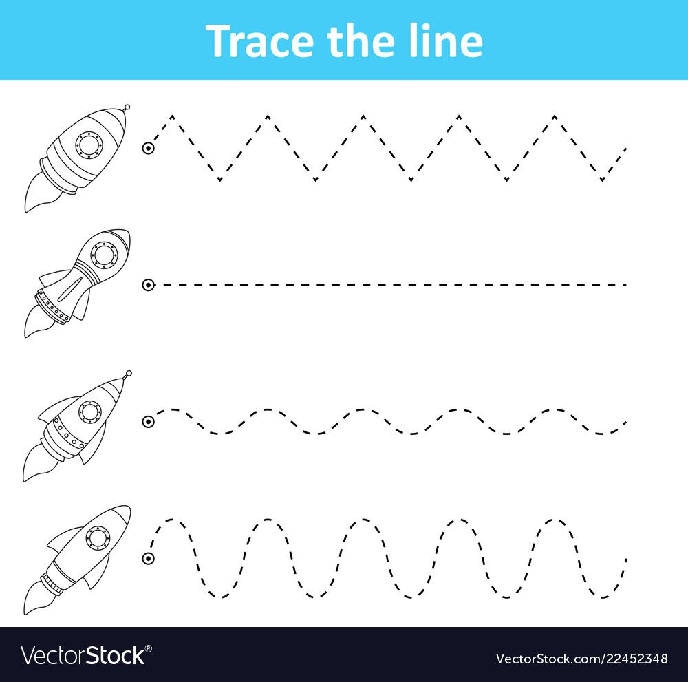 Trace Line Worksheet For Preschool Kids With Rocke Vector