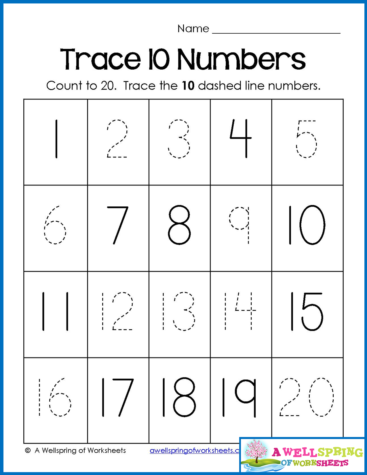 Trace Numbers 1-20, Write And Fill In The Numbers, Too