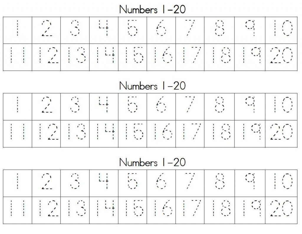 Trace Numbers 1 20   Writing Numbers, Handwriting Numbers
