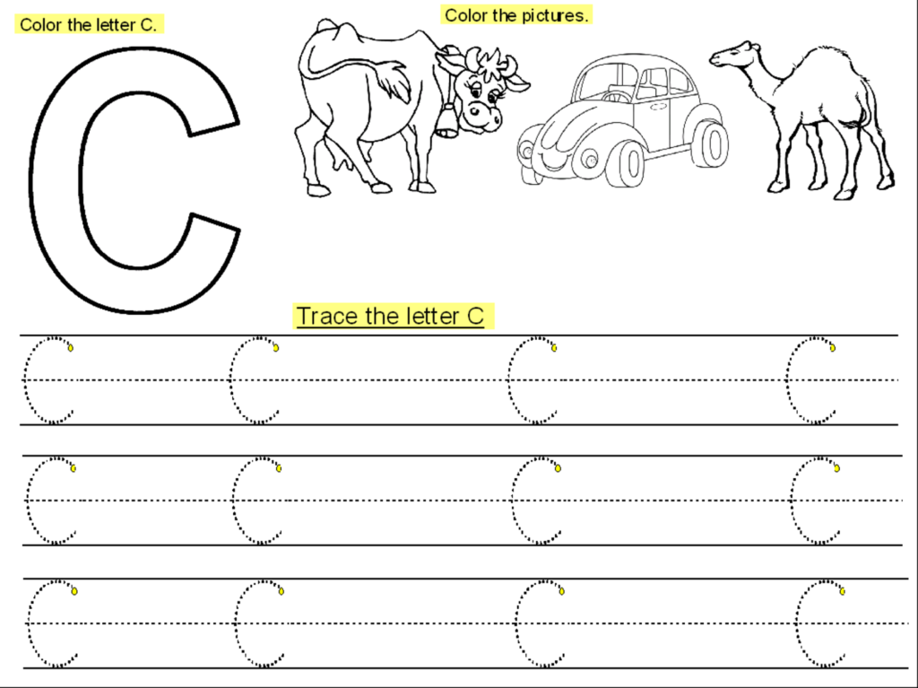 Trace The Letter C Worksheets | Letter C Worksheets Pertaining To Letter C Tracing Printable