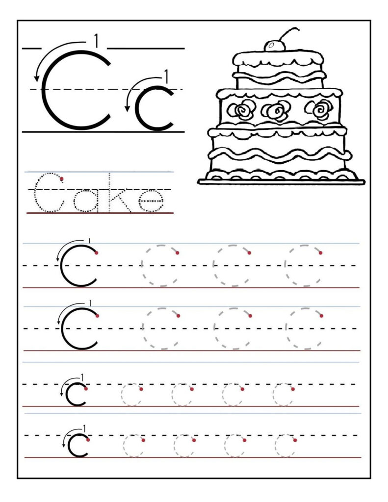 Trace The Letter C Worksheets | Letter Tracing Worksheets In C Letter Tracing