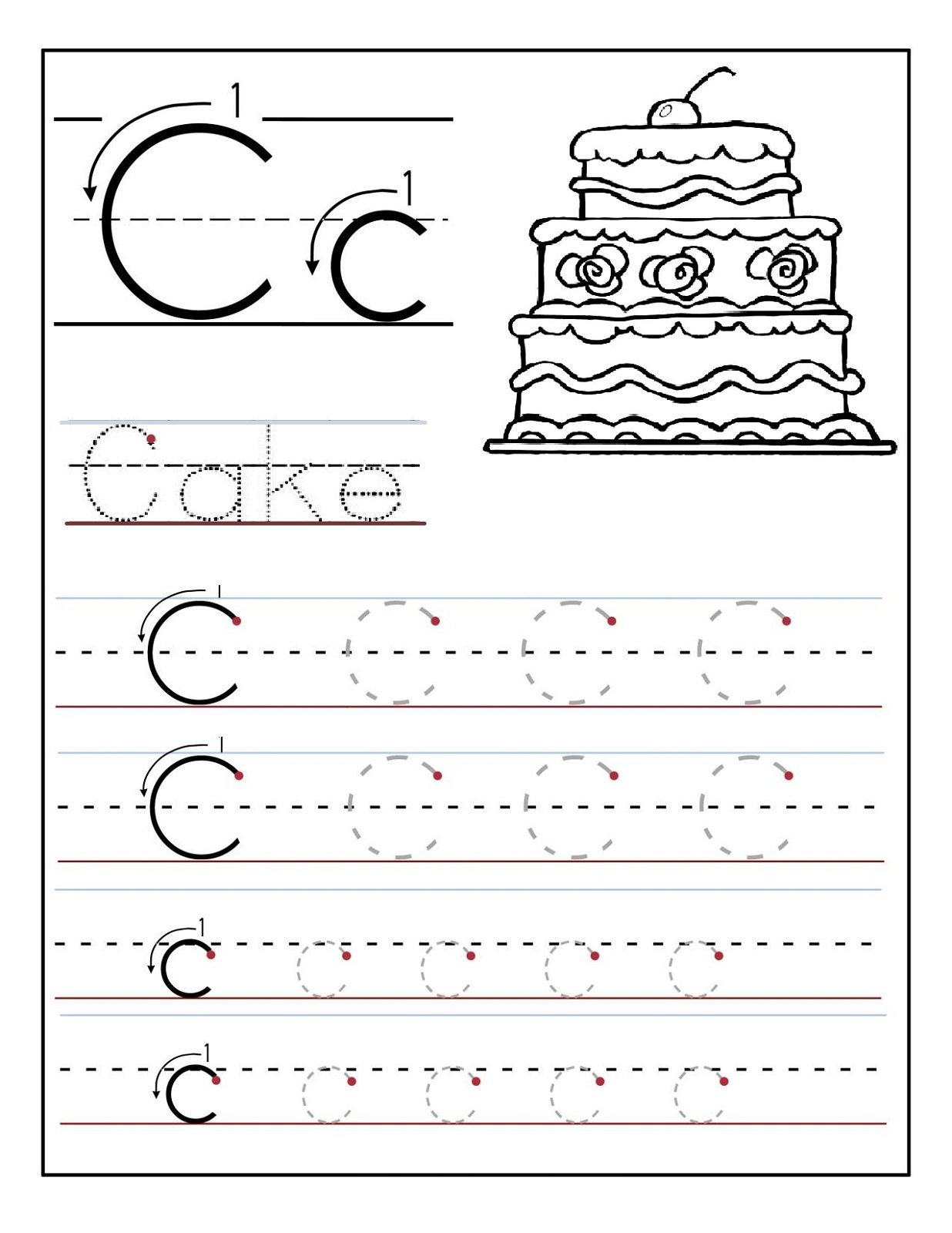 Trace The Letter C Worksheets | Letter Tracing Worksheets inside Letter C Worksheets Free Printable