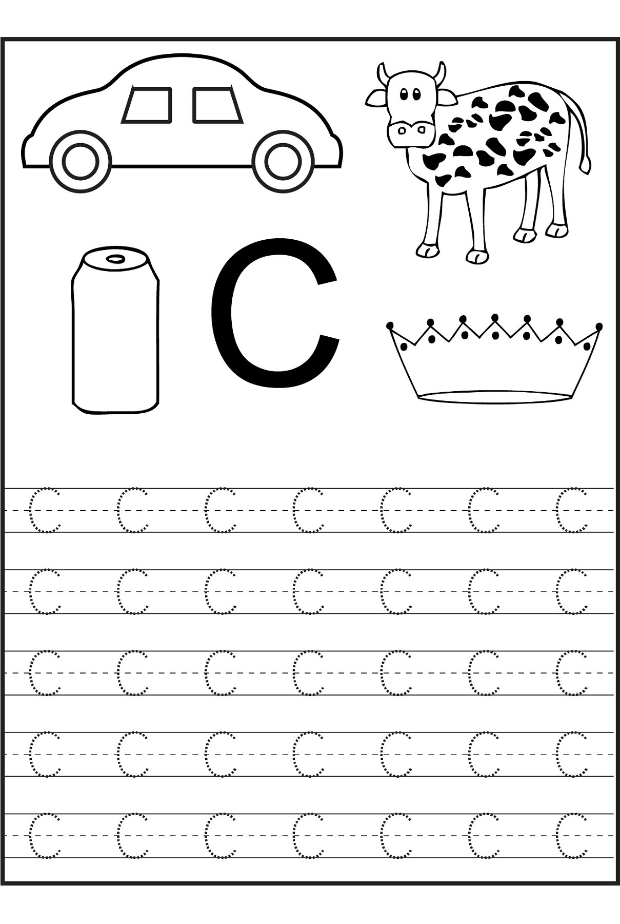 Trace The Letter C Worksheets Preschool Worksheets Letter C with Letter C Tracing Printable