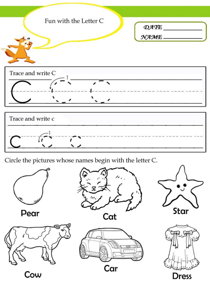 Trace The Letter C Worksheets Printable | 101 Activity In Intended For Letter C Worksheets Printable