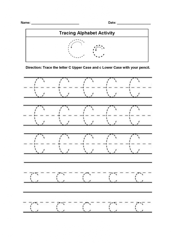 Trace The Letter C Worksheets Printable | 101 Activity In Throughout Letter C Tracing Printable