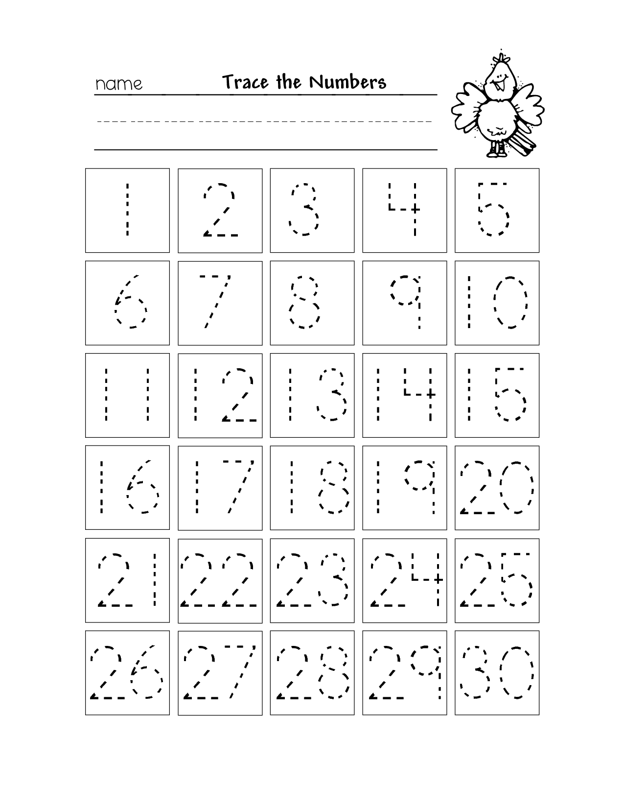 Trace The Numbers 1 To 30 | Preschool Number Worksheets with regard to Name Tracing Online
