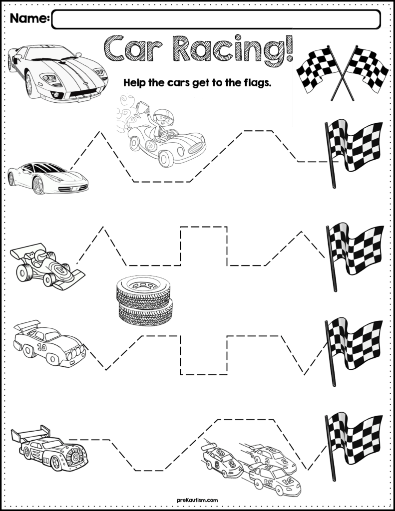 Trace The Pattern: Race Cars Worksheets | Tracing Worksheets
