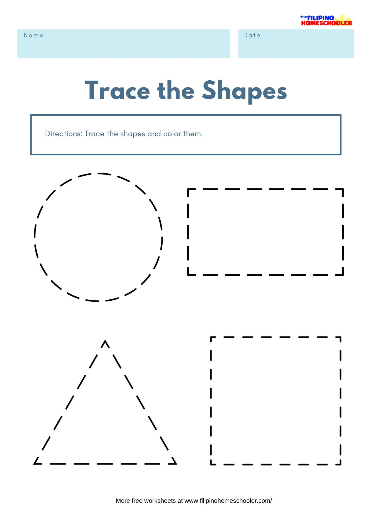 Trace The Shapes Math Worksheets Filipino Homeschooler Basic