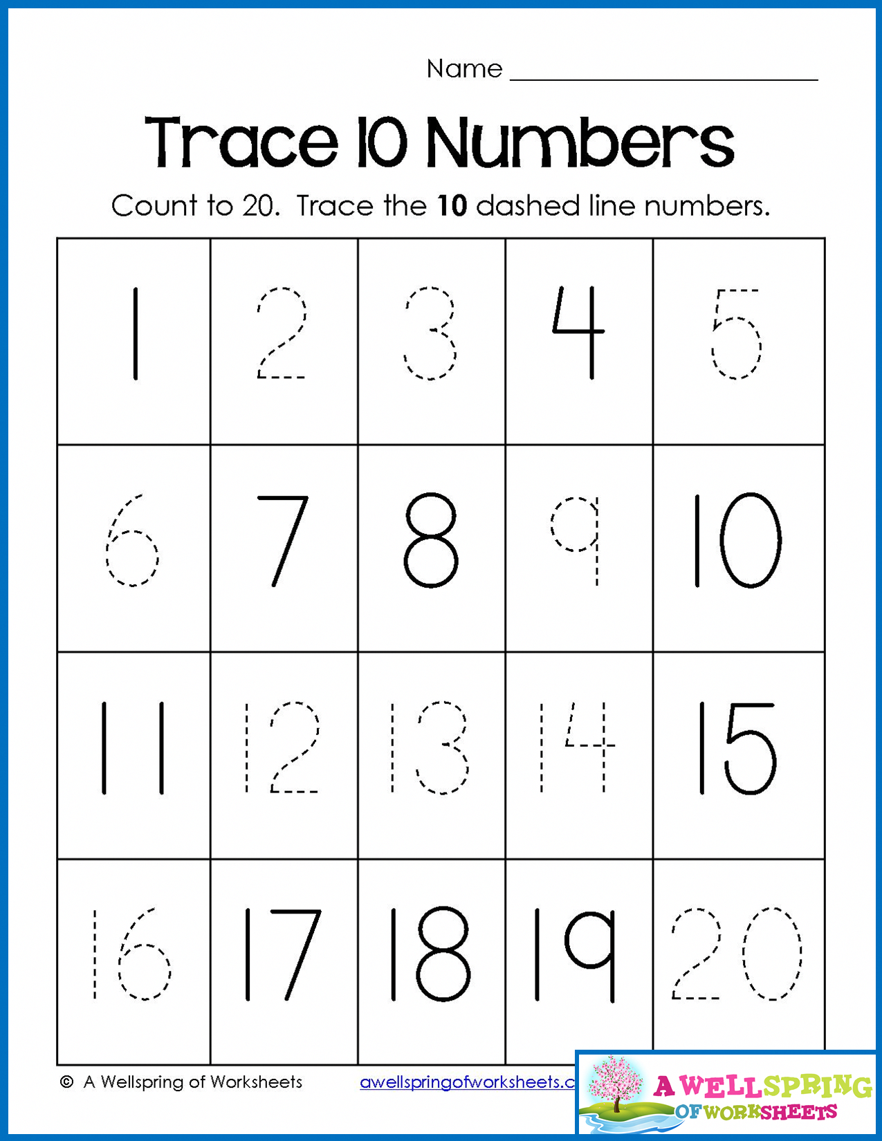Trace, Write And Fill In Numbers 1-20 30 Worksheets & 3