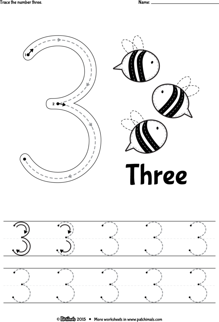 Trace Number 3 Eng (1115×1637) | Tracing Worksheets