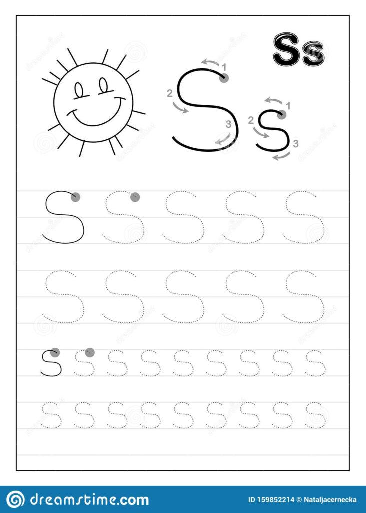 Tracing Alphabet Letter Black And Educational On Worksheets Regarding Letter S Tracing Worksheets For Preschool
