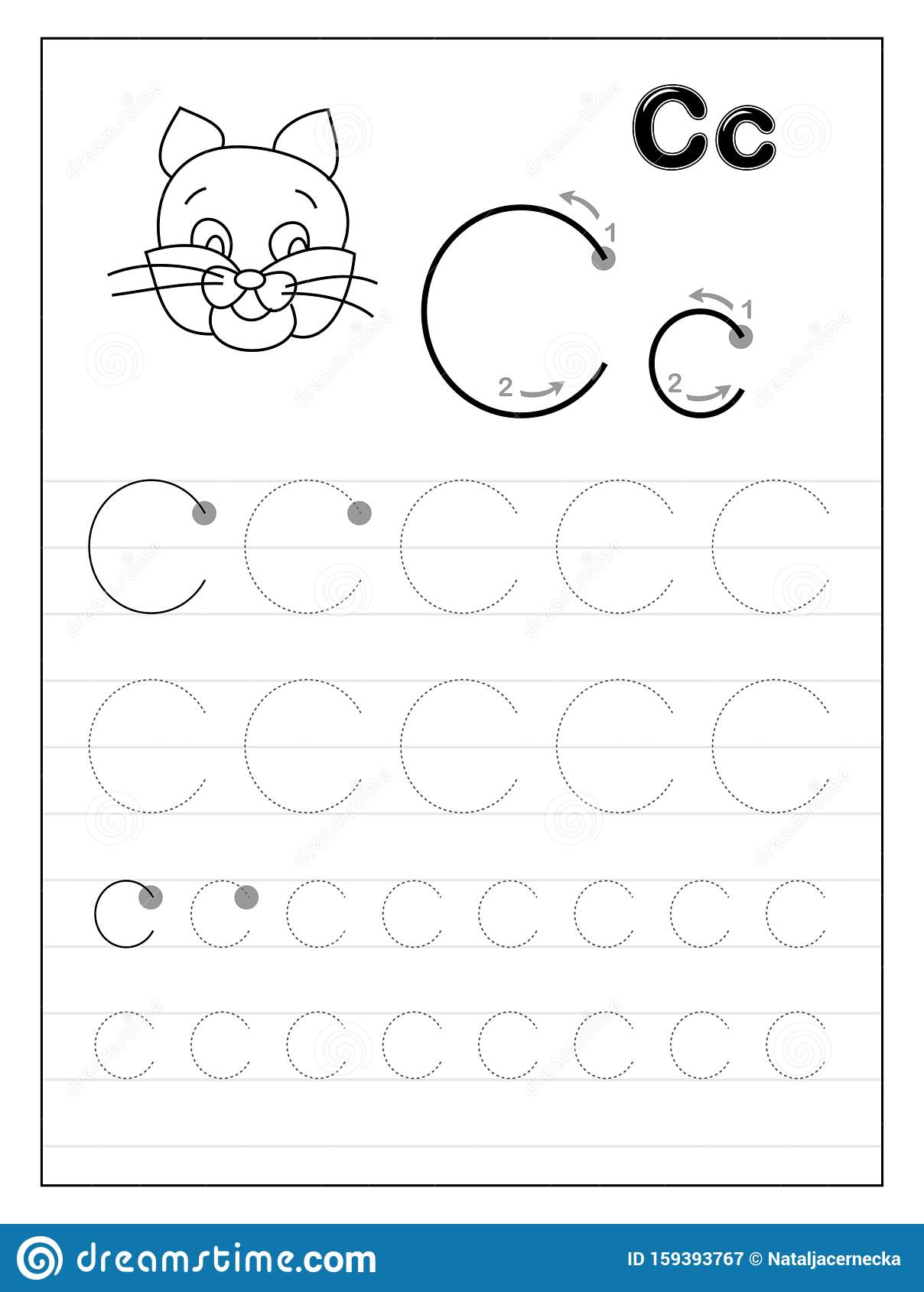 Tracing Alphabet Letter Black And Educational On Worksheets