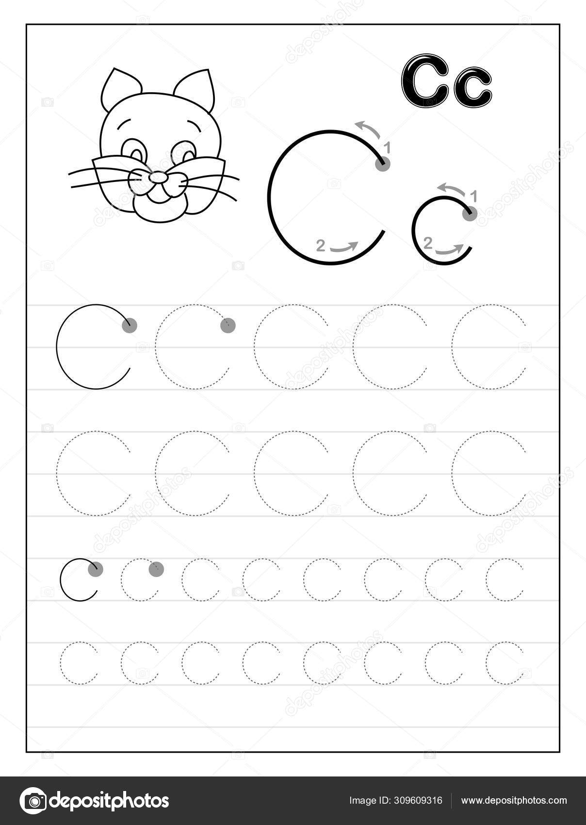 Tracing Alphabet Letter C. Black And White Educational Pages On Line For  Kids. Printable Worksheet For Children Textbook. Developing Skills Of within Letter C Tracing Printable
