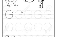 Tracing Alphabet Letter G. Black And White Educational Pages..