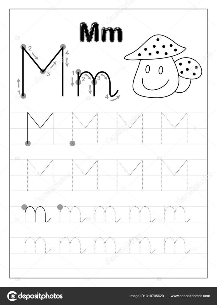 Tracing Alphabet Letter M. Black And White Educational Pages On Line For  Kids. Printable Worksheet For Children Textbook. Developing Skills Of For Alphabet M Tracing