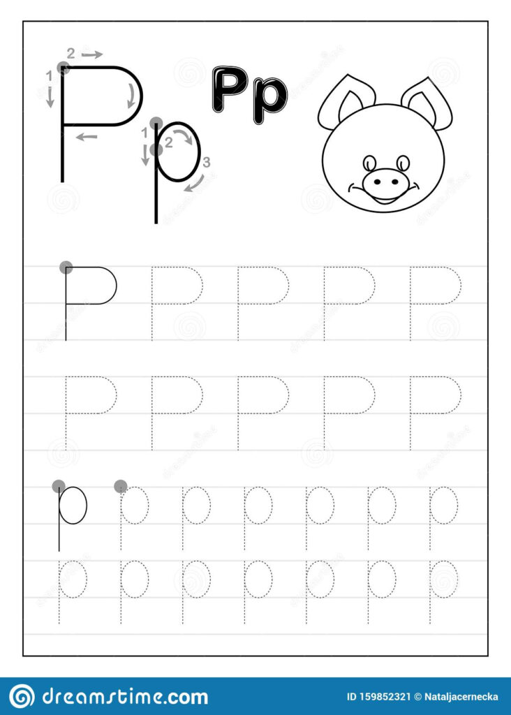 Tracing Alphabet Letter P Black And White Educational Pages Regarding Letter P Tracing For Preschool