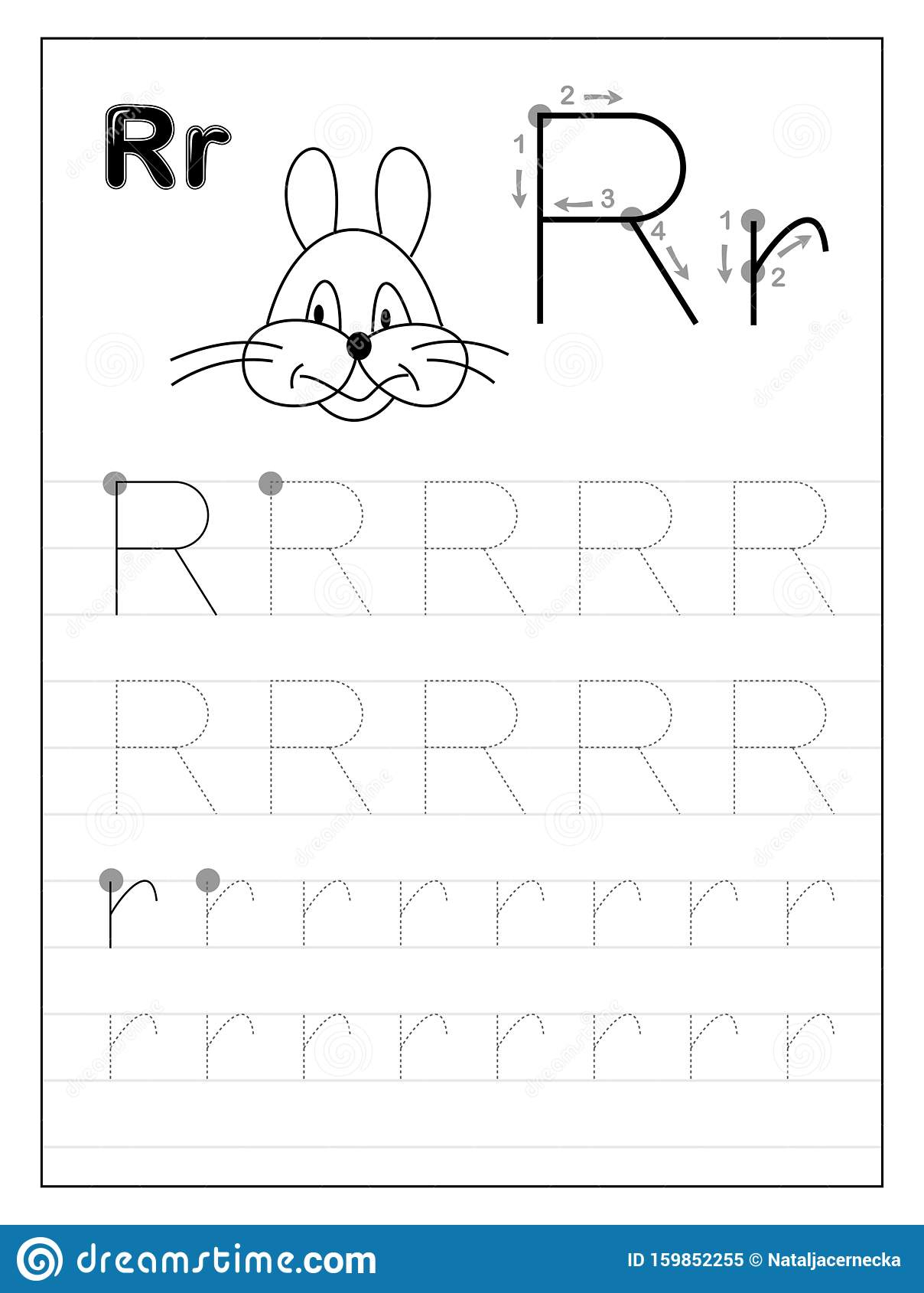 Tracing Alphabet Letter R. Black And White Educational Pages in Letter R Tracing Pages