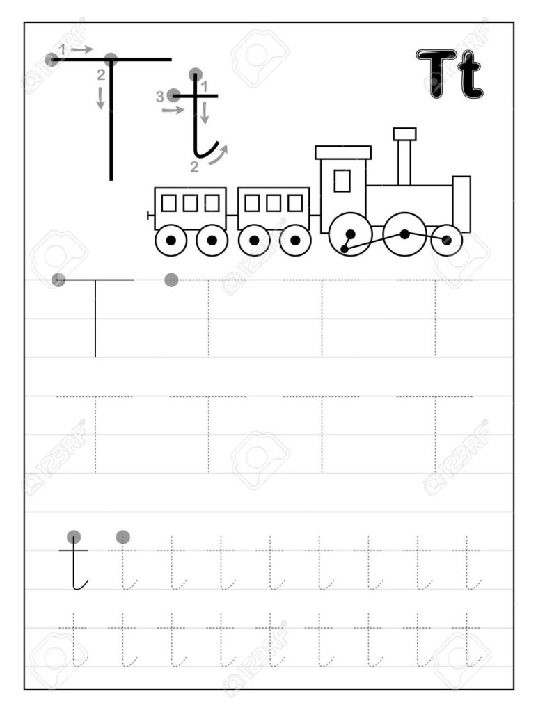 Tracing Alphabet Letter T. Black And White Educational Pages.. Inside Letter T Tracing Page