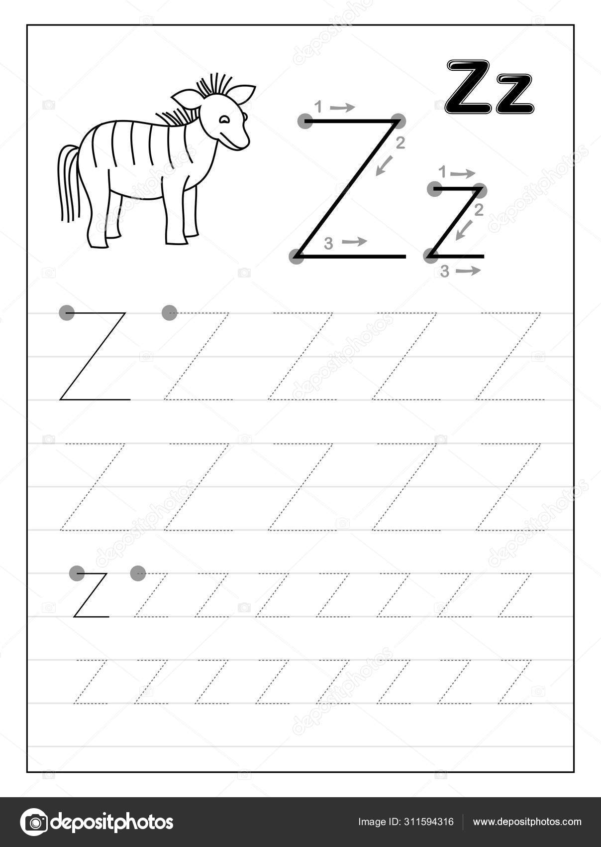 Tracing Alphabet Letter Z. Black And White Educational Pages On Line For  Kids. Printable Worksheet For Children Textbook. Developing Skills Of pertaining to Letter Zz Worksheets