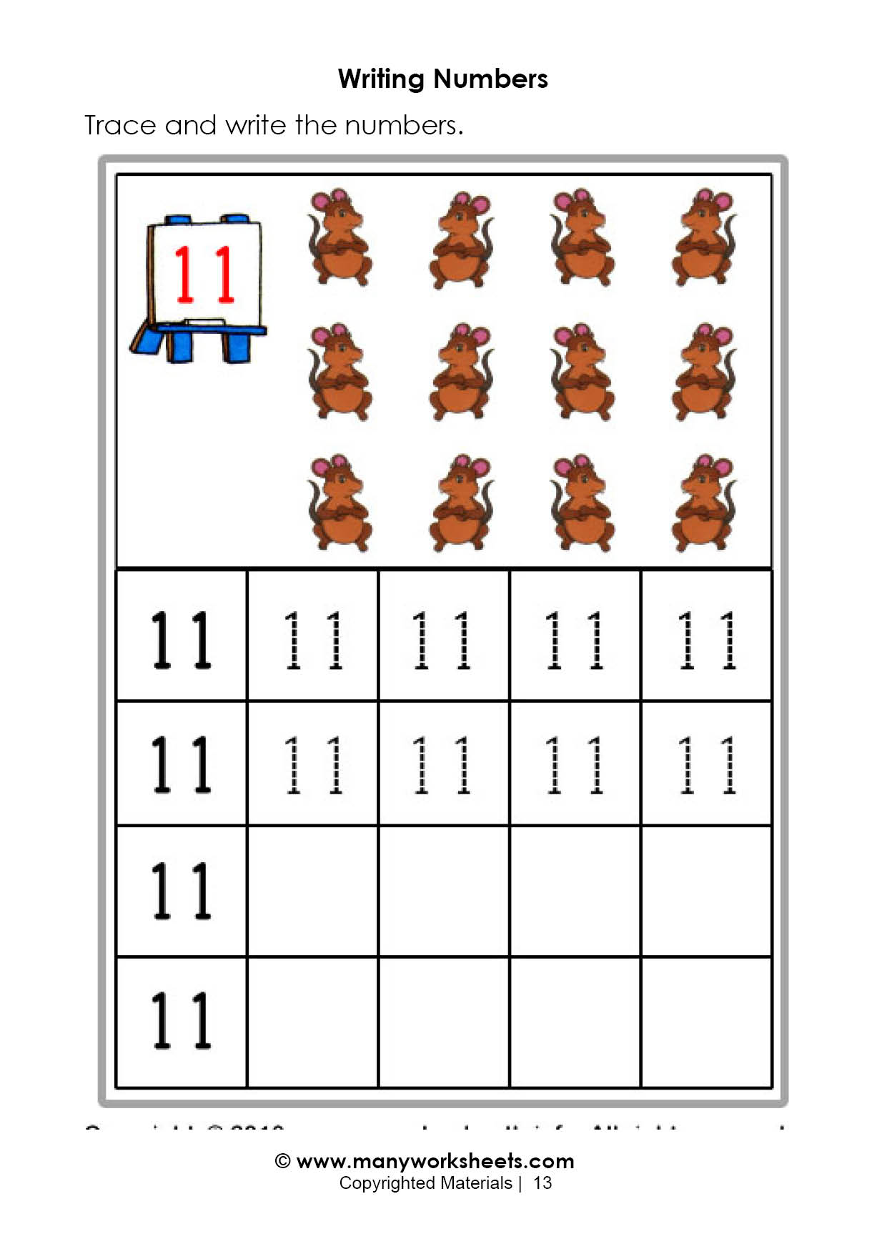 Tracing And Writing Number 11 Worksheets