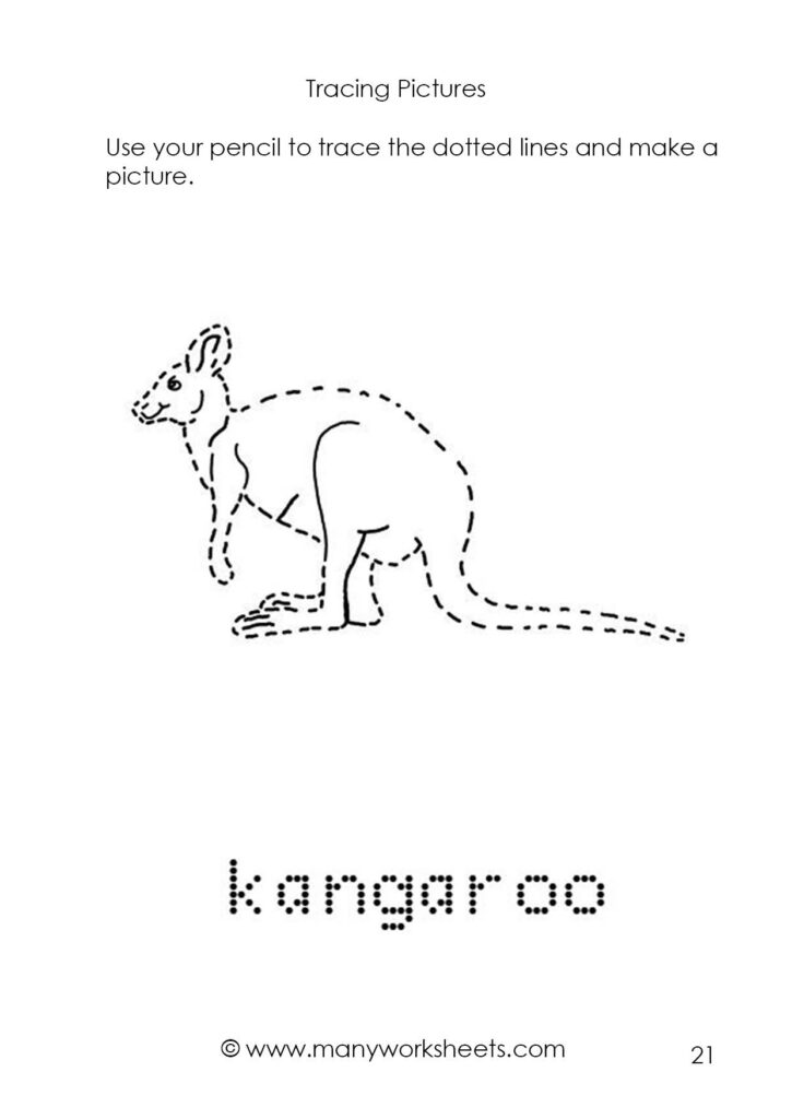 Tracing Animals Pictures And Names Worksheets