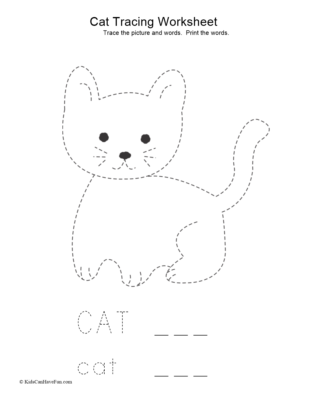 Tracing Cat Worksheet In 2020 | Tracing Worksheets