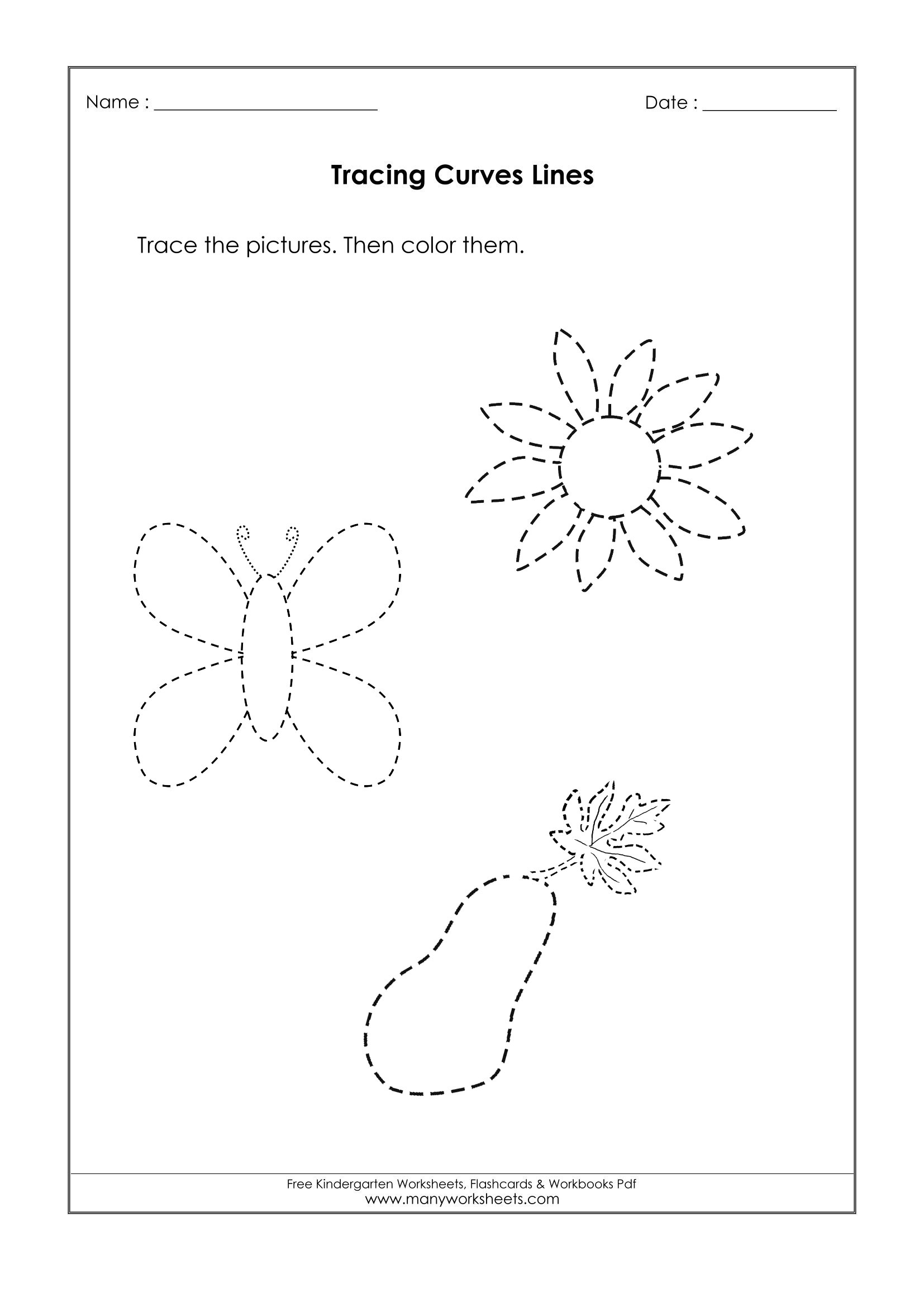 Tracing Curved Lines Worksheets Printable And Name