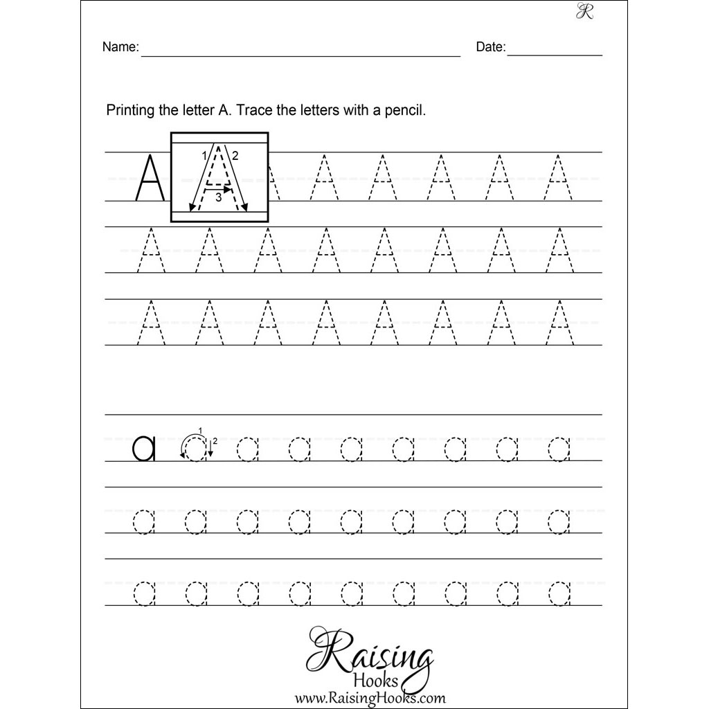 Tracing Each Letter Worksheets Raising Hooks Alphabet in Name Tracing Worksheets A To Z