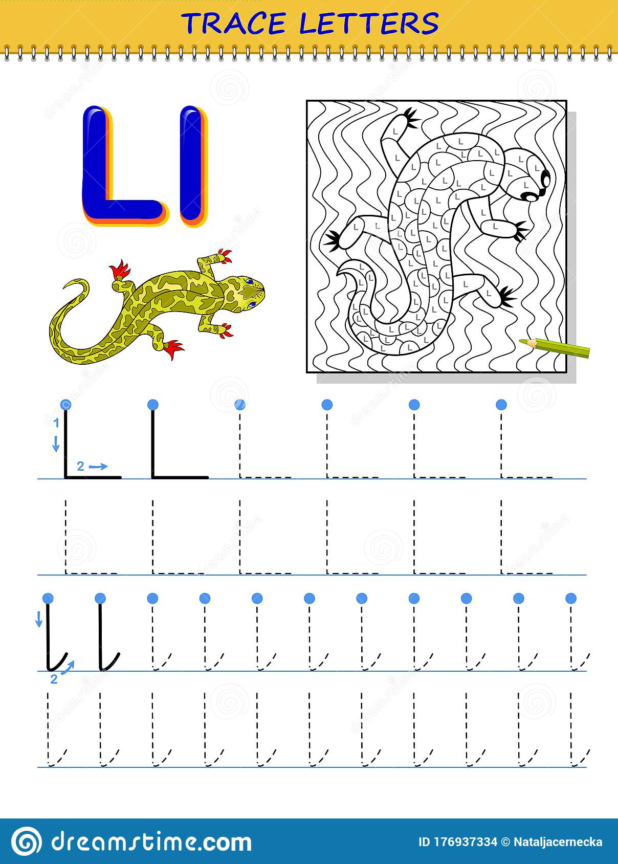 Tracing Letter L For Study Alphabet. Printable Worksheet For