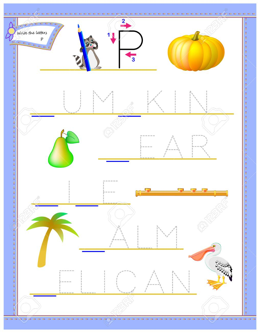 Tracing Letter P For Study English Alphabet. Printable Worksheet..