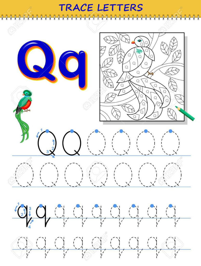 Tracing Letter Q For Study Alphabet. Printable Worksheet For.. With Letter Tracing Q