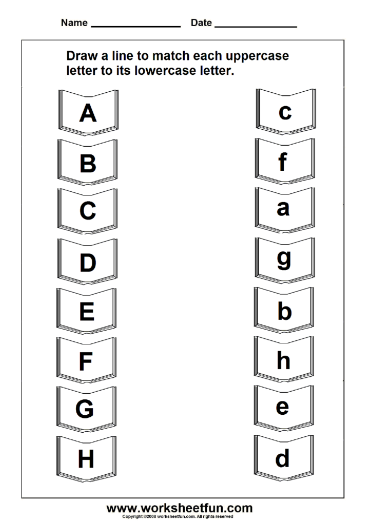 Tracing Letter Worksheets For Kindergarten Lowercase Within Alphabet Matching Worksheets Printable