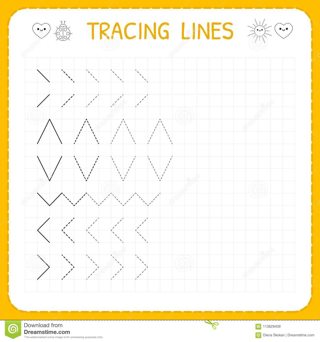 Tracing Lines. Worksheet For Kids. Working Pages For