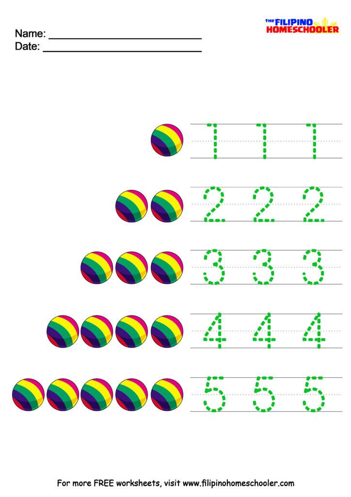 Tracing Number 5 Worksheets For Preschoolers   Printable