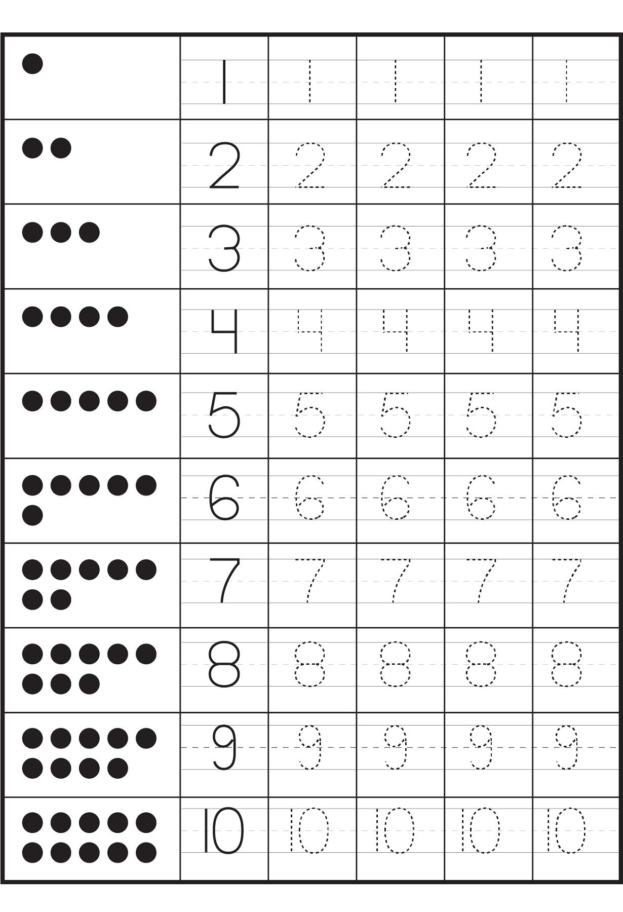 Tracing Numbers 1-10 Worksheets | Numbers Preschool