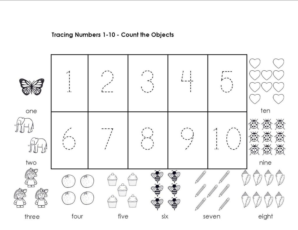 Tracing Numbers 1 10 Worksheets | Printable Preschool