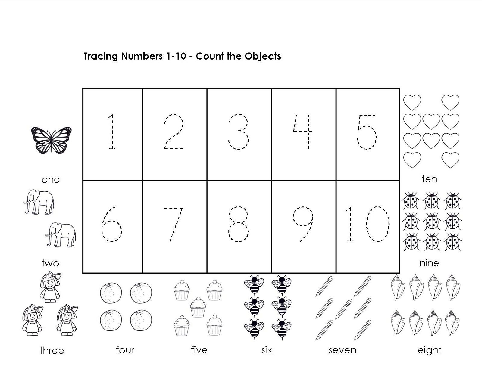 Tracing Numbers 1-10 Worksheets | Printable Preschool