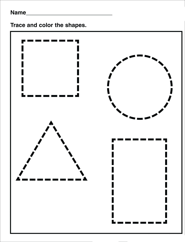 Tracing Shape Preschool Free Printable Worksheets Drawing
