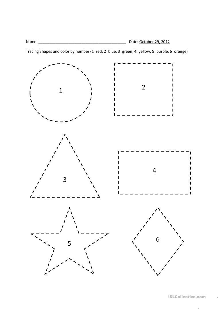Tracing Shapes - Colornumber - English Esl Worksheets