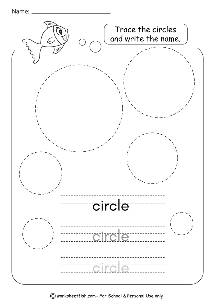 Tracing Shapes Worksheets   Square, Circle, Triangle