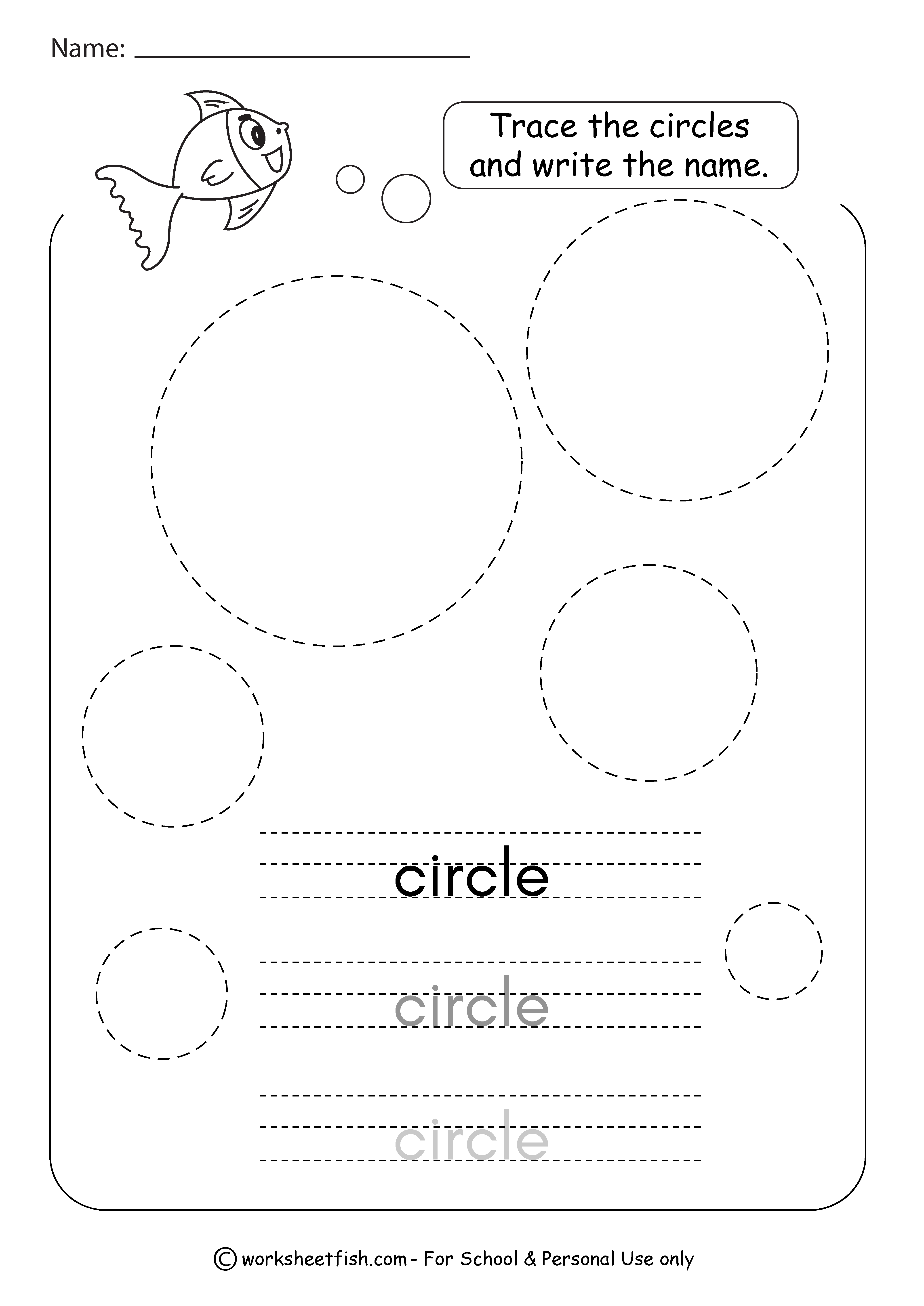 Tracing Shapes Worksheets - Square, Circle, Triangle