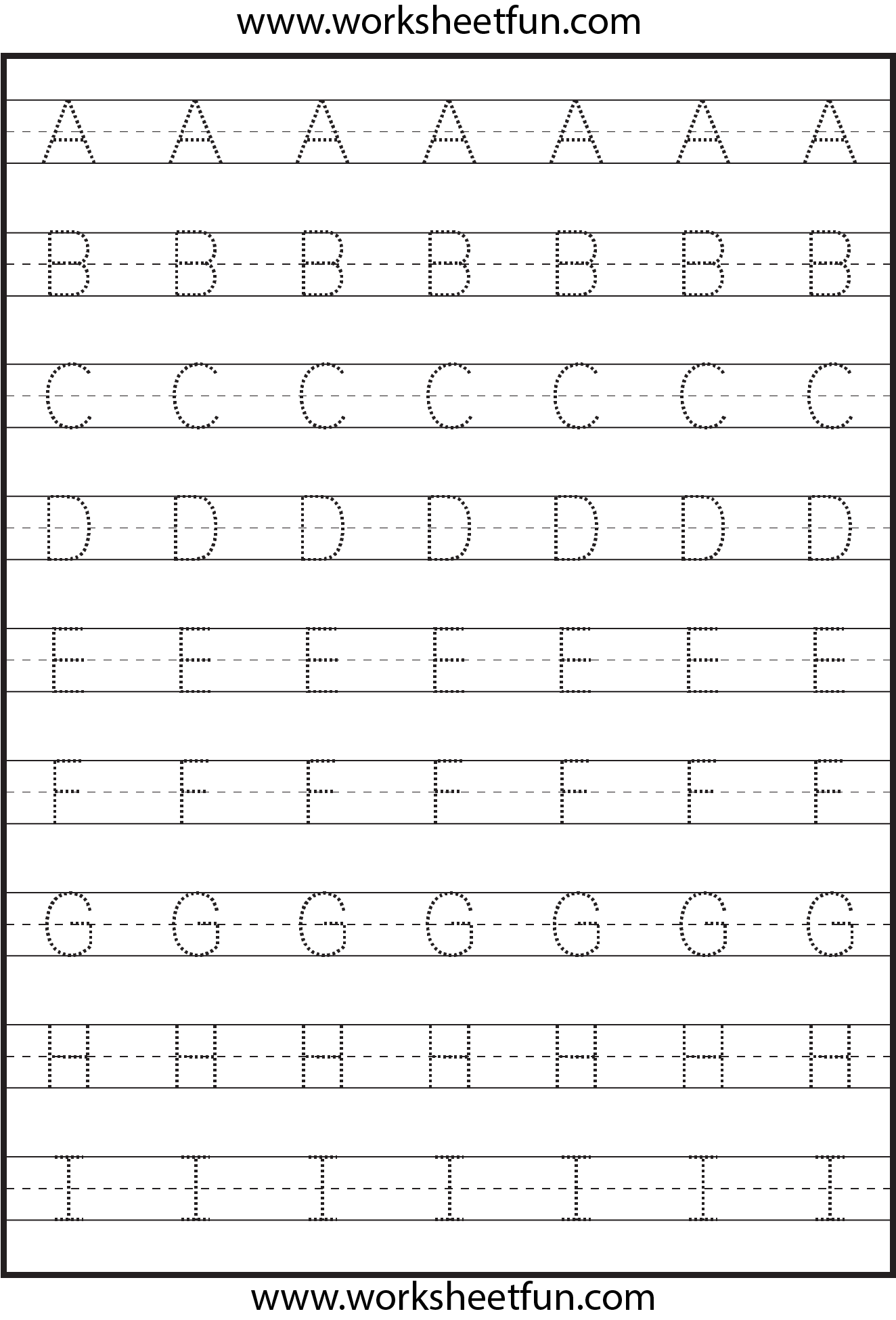 Tracing – Uppercase Letters – Capital Letters – 3 Worksheets regarding Letter Tracing Kindergarten Worksheets