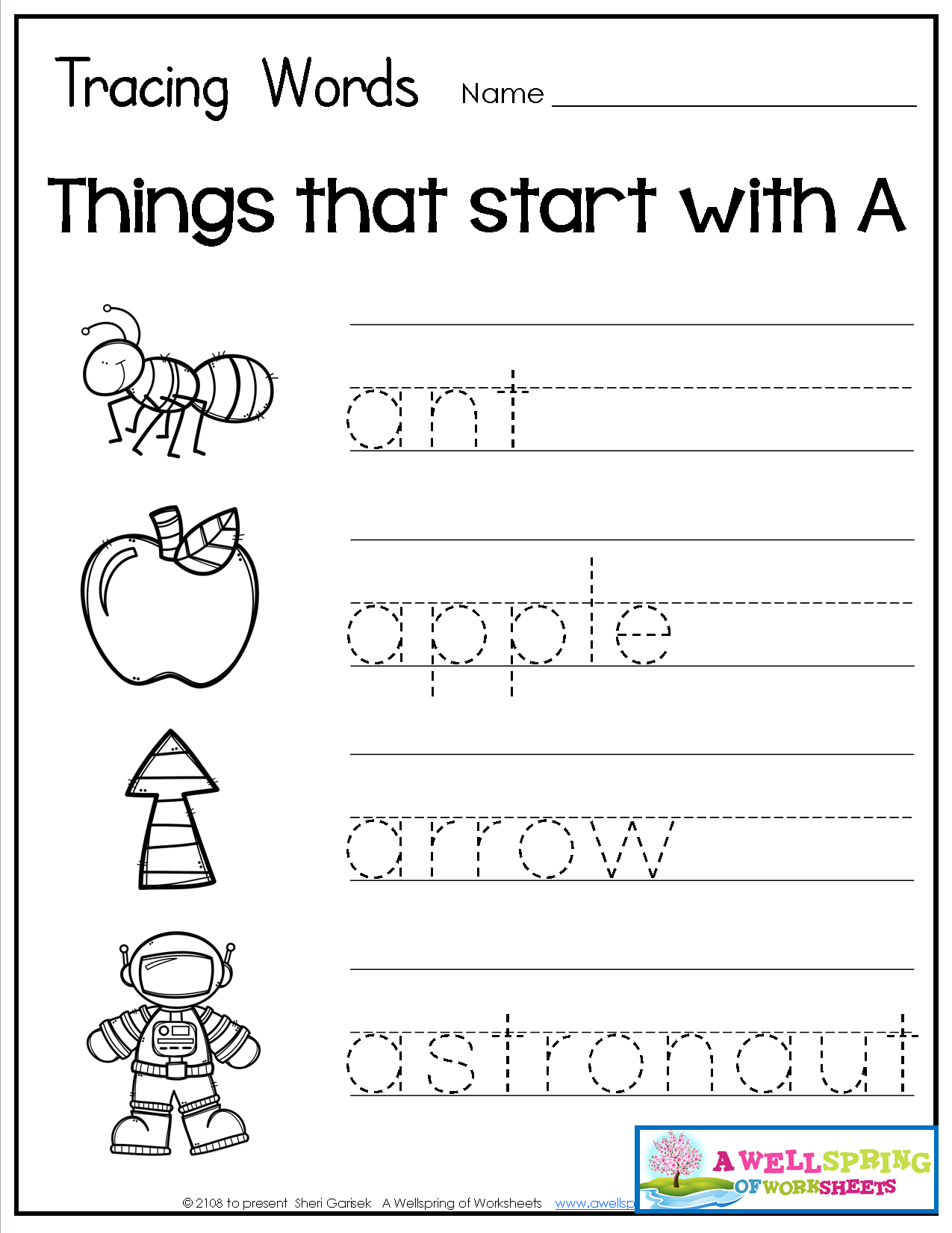 Tracing Words - Things That Start With A-Z Worksheets These for Name Tracing Worksheets For Kindergarten
