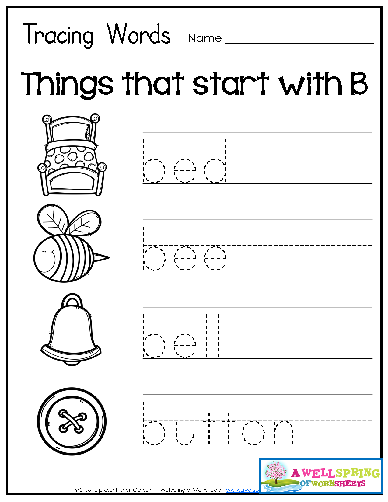 Tracing Words - Things That Start With A-Z Worksheets These in Name Tracing Twisty Noodle