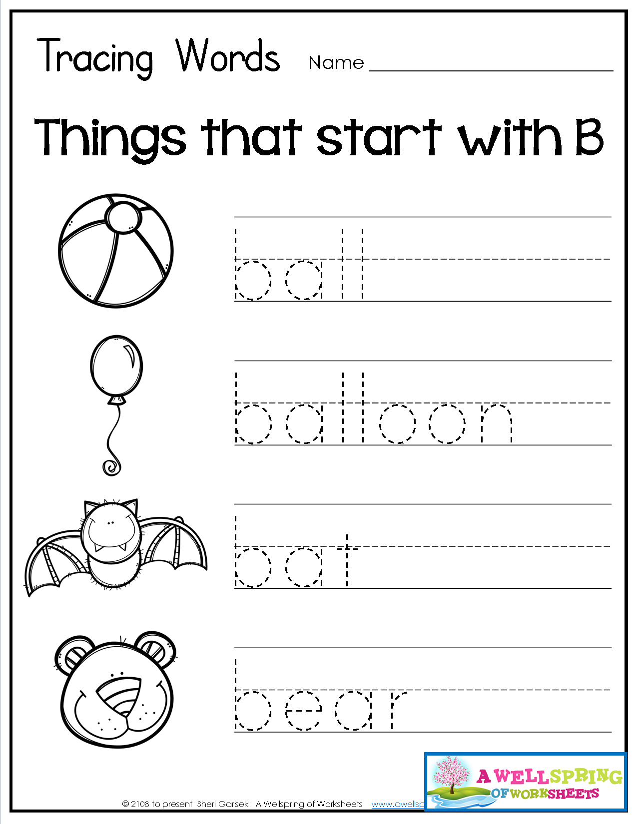 Tracing Words - Things That Start With A-Z Worksheets These inside Name Tracing A-Z