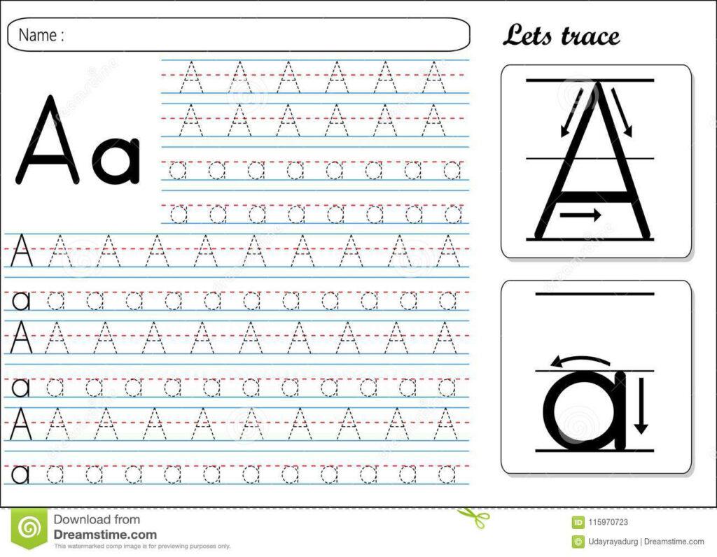 Tracing Worksheet  Aa Stock Vector. Illustration Of Alphabet
